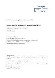 Wettbewerb im Sozialmarkt als politischer Wille - Evangelische ...