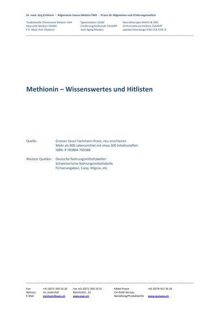 Methionin – Wissenswertes und Hitlisten - Ever.ch