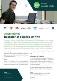 Ausbildung: Bachelor of Science (m / w) - DAW