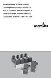 Betriebsanleitung für Piezoventil P20 Operating ... - Hoerbiger