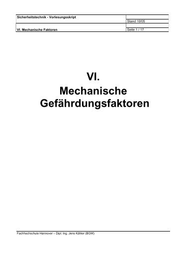 VI. Mechanische Gefährdungsfaktoren