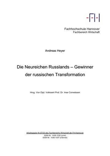 Die Neureichen Russlands – Gewinner der russischen Transformation
