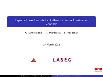 Expected Loss Bounds for Authentication in Constrained ... - FIAS