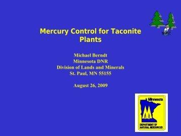 Mercury Control For Taconite Plants