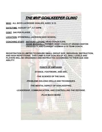 the mvp goalkeeper clinic the mvp goalkeeper clinic
