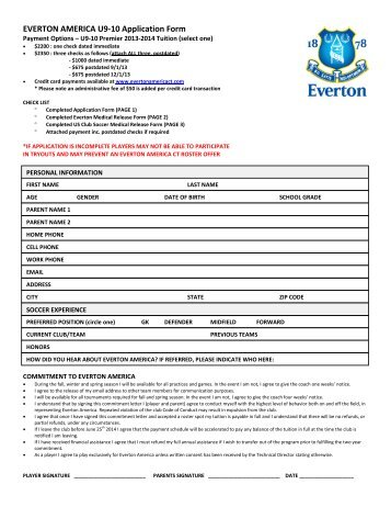 EVERTON AMERICA U9-10 Application Form