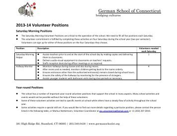 German School of Connecticut 2013-‐14 Volunteer Positions