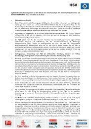 Allgemeine Geschäftsbedingungen für den Besuch von ... - HSV