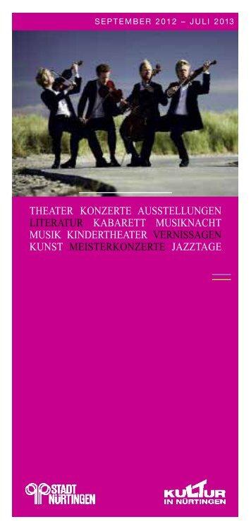 Kulturprogramm 2013 - Stadt Nürtingen