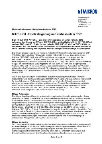 Medienmitteilung Halbjahresabschluss 2013 - Mikron