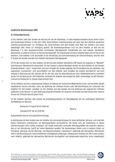 Zusätzliche Bestimmung en AMIS - VAPS EDV-Service & Vertrieb ...