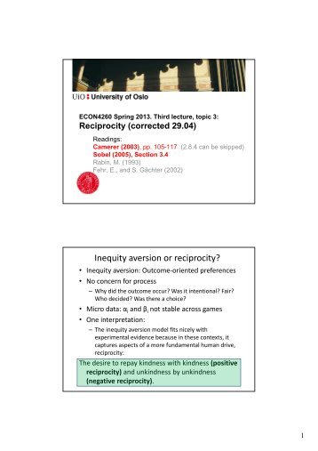 Third lecture on Topic 3: Reciprocity