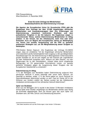 FRA Pressemitteilung Wien/Stockholm, 9. Dezember 2009 ... - Europa