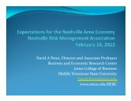 Expectations for Nashville Economy - Middle Tennessee State ...