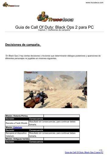 Guia de Call Of Duty: Black Ops 2 para PC - Trucoteca.com