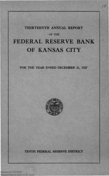 1927 Annual Report of the Federal Reserve Bank of Kansas City