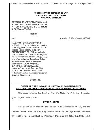 Order and Preliminary Injunction as to Defendants Vacation ...