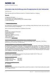 Information über die Eröffnung eines Privatgirokontos für den ...