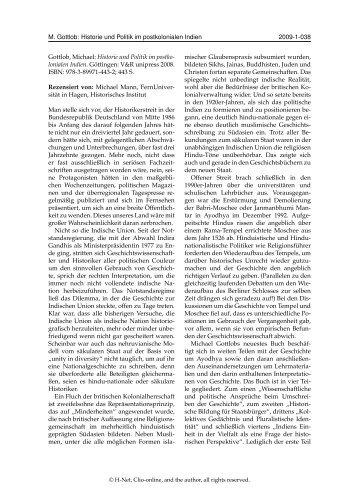 M. Gottlob: Historie und Politik im postkolonialen Indien 2009-1-038 ...