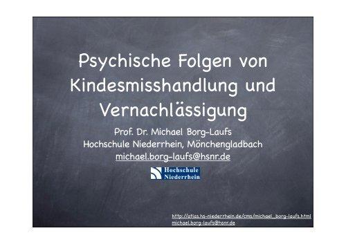 Psychische Folgen von Kindesmisshandlung und Vernachlässigung