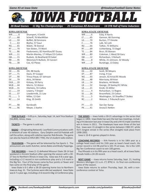 @HawkeyeFootball Game Notes Game #3 at Iowa State