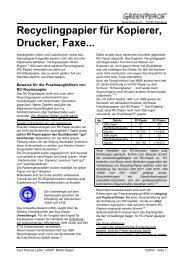 Recyclingpapier für Kopierer, Drucker, Faxe... - Greenpeace ...