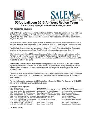 D3football.com 2013 All-West Region Team - Gustavus Adolphus ...