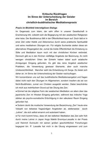 Kritische Rückfragen im Sinne der ... - Hans Waldenfels