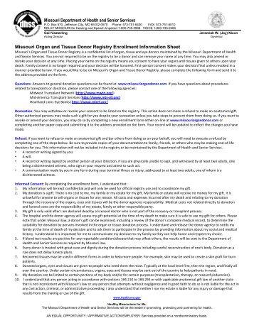 Missouri Organ and Tissue Donor Registry Enrollment Information ...