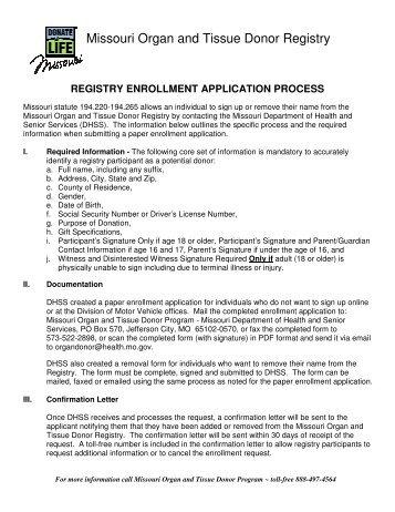 Enrollment Process - Missouri Department of Health & Senior Services