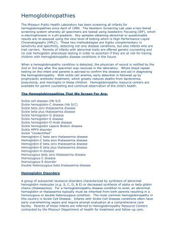 Hemoglobinopa thies - Missouri Department of Health & Senior ...