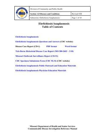 Ehrlichiosis/Anaplasmosis Table of Contents - Missouri Department ...