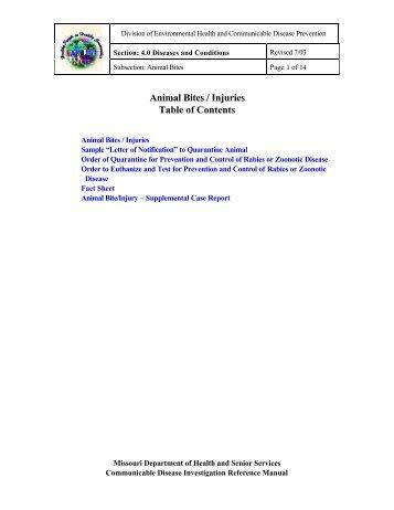 Animal Bites / Injuries - Missouri Department of Health & Senior ...