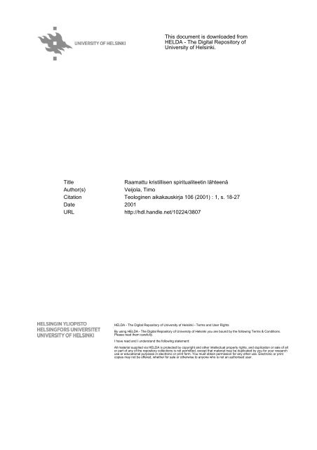 This document is downloaded from HELDA - The ... - Helda - Helsinki.fi
