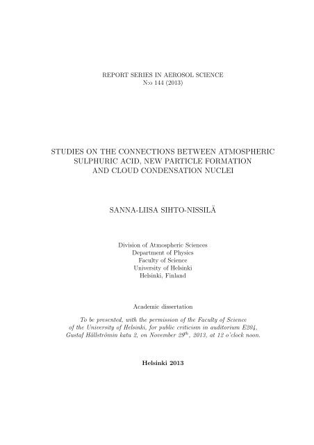 Studies on the connections between ... - Helda - Helsinki.fi
