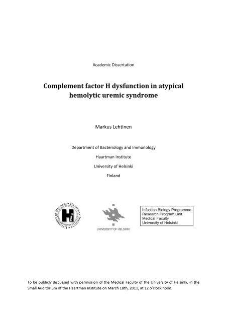 Complement factor H dysfunction in atypical hemolytic ... - Helda