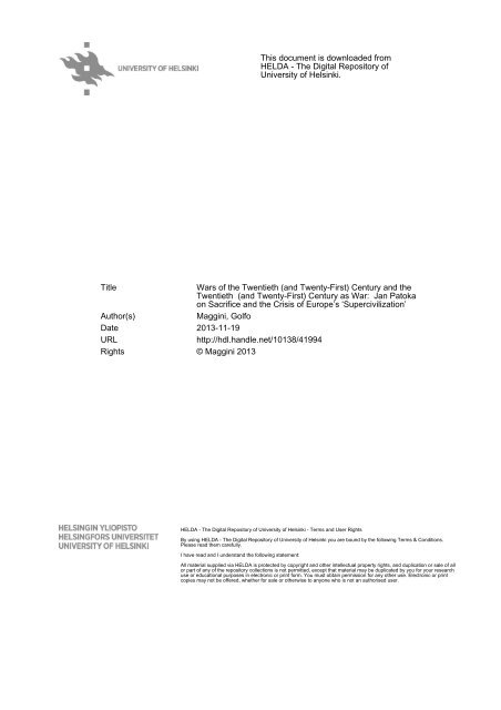This document is downloaded from HELDA - The Digital Repository ...