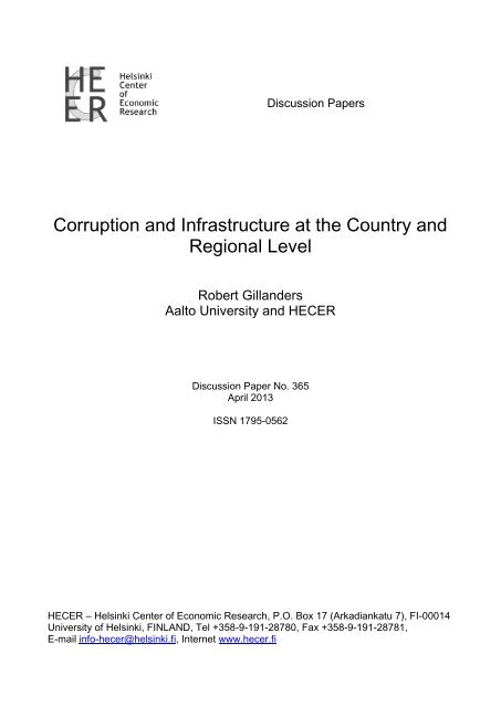 Corruption and Infrastructure at the Country and ... - Helsinki.fi