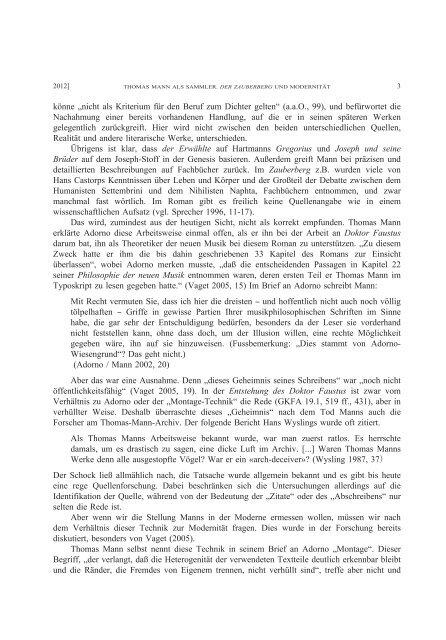 Title THOMAS MANN ALS SAMMLER DER ... - HERMES-IR