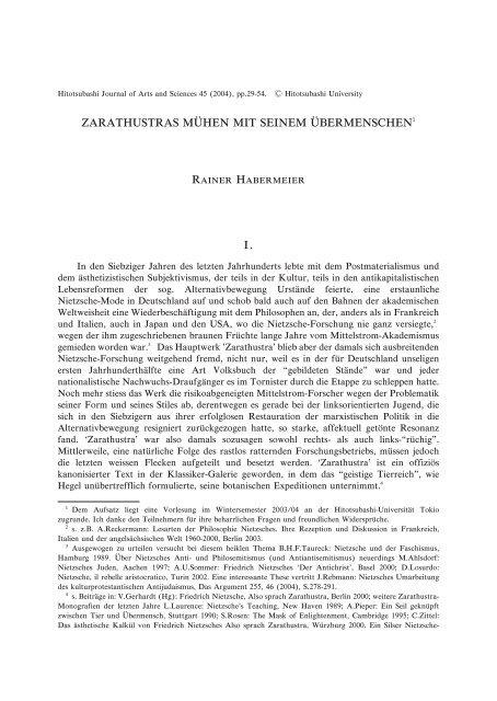 Title Zarathustras Muhen mit Seinem Ubermenschen ... - HERMES-IR