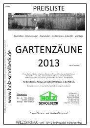 PREISLISTE - Holz-Scholbeck