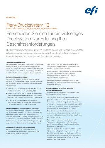 Fiery-Drucksystem 13 Entscheiden Sie sich für ein vielseitiges ... - Utax