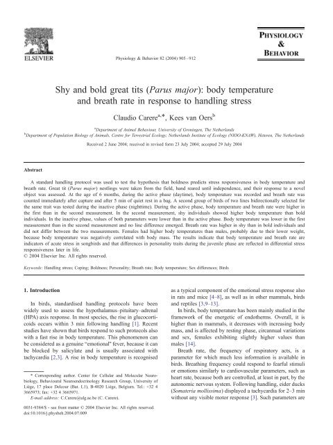 body temperature and breath rate in response to handling stress