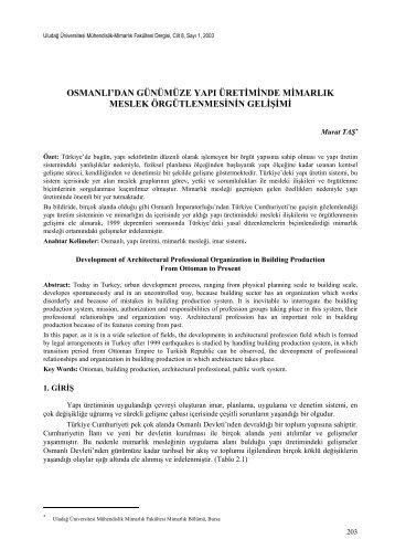 Osmanlı'dan Günümüzde Yapı Üretiminde Mimarlık Meslek ...