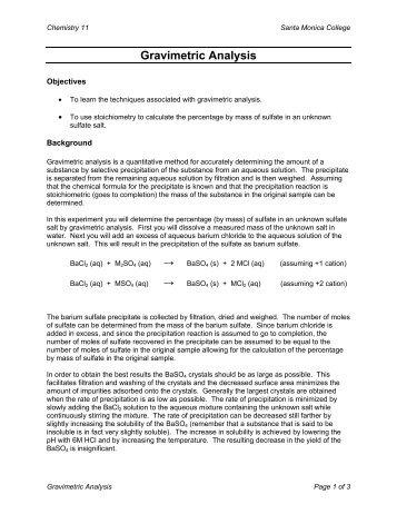 conductometric titration and gravimetric determination of a precipitate answers