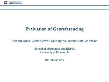 Evaluation of Georeferencing - Informatics Homepages Server ...