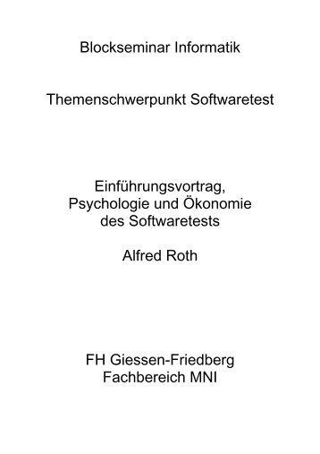 Blockseminar Informatik Themenschwerpunkt Softwaretest ...