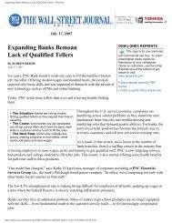 Expanding Banks Bemoan Lack of Qualified Tellers - WSJ.com