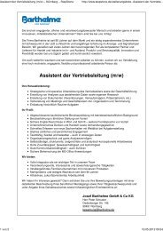 Assistent der Vertriebsleitung (m/w) - Barthelme Gmbh & Co. KG