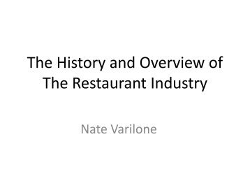 The Restaurant Industry - Homepages Wmich